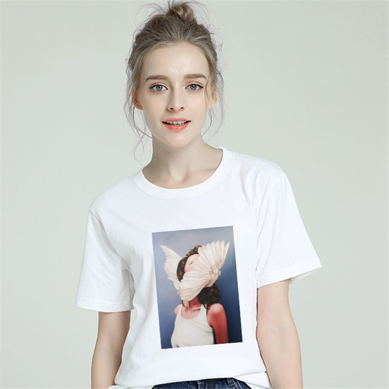 Sexy Wings Ladies T Shirt Women Cotton Harajuku Aesthetic Short Sleeve Gothic Style Tshirt Plus Size 2019 Tumblr Female Top Tee