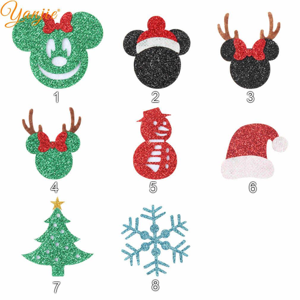12 шт./партия 2 ''блестки на Рождество фельты 2019 DIY рождественская бабочка заколки для волос Детские повязки на голову для девочек рождественские аксессуары для волос