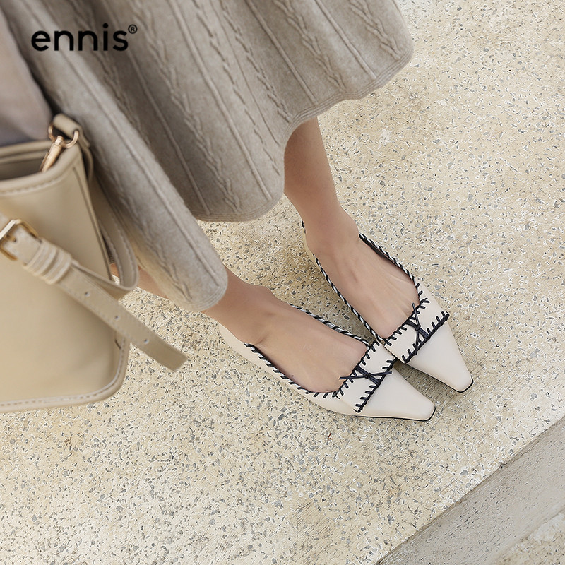 Ennis C936 Pointu Mocassins Plats Mode Designer Beige Cuir Décontractées Beige Chaussures black Femmes Papillon Avec Véritable À En Bout Noir Nœud H9E2WIYD