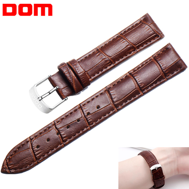 DOM Genuine Leather Watch Strap 20mm Women Men Unisex High Quality Brown Black W