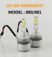 2Pcs H4 LED H7 H11 9005 9006 HB4 COB C6 Auto Car Headlight 72W 7600LM High