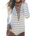 Women Rompers Long Sleeve Striped Bandage Playsuits Mini Sexy Jumpsuits  ER4