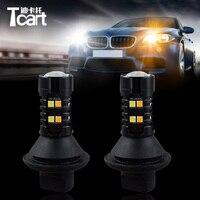 Tcart 2pcs Dual Color Switchback BA15S P21W For Volkswagen Touareg Car DRL LED Daytime Running Lights Turn Signal External Bulbs
