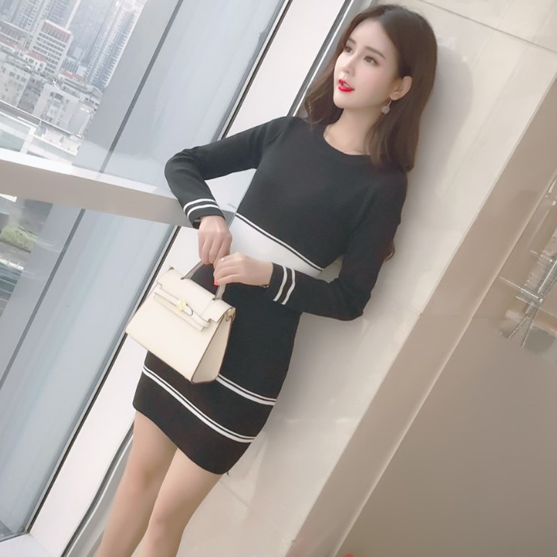 brand moda feminina designer new bandage bodycon mini-dress aesthetic korean chic elegant vestidos Striped Empire Autumn dresses 7