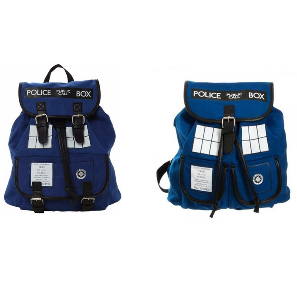 Doctor Dr. Who Backpack Police Box Tardis Womens Knapsack Bag very Good Quality WithTagMans Gift man shoulderbag
