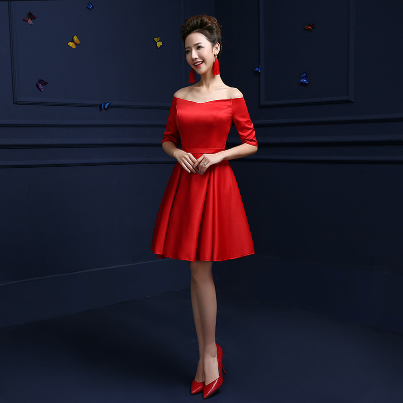 7ec986c1801ee CEEWHY Off Shoulder Satin Dress Knee Length Prom Dress Short Evening Gown  Cocktail Dresses 2018 Homecoming Dresses Abendkleider-in Cocktail Dresses  from ...