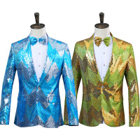 High Quality 2017 Blue Sequins Long Sleeves Wedding Party Groomsmen Suit Jacket/Blazer Bow With Tie Costumes For Men