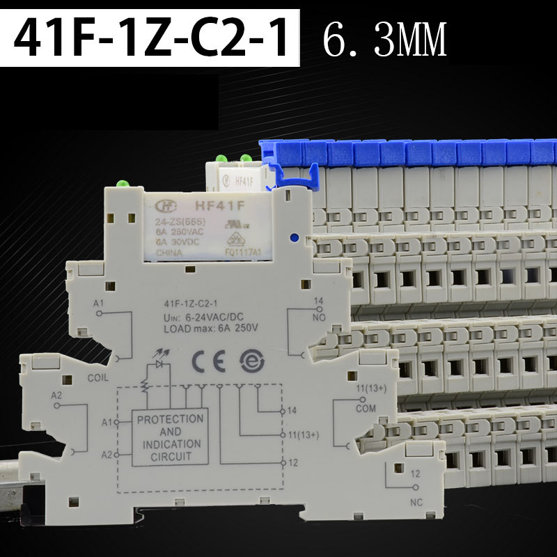 Original 41F-1Z-C2-1 HF41F-024-ZS Super Thin Din Rail Relay Module Groups Similar To PLC-RSC Din Rail Mounting