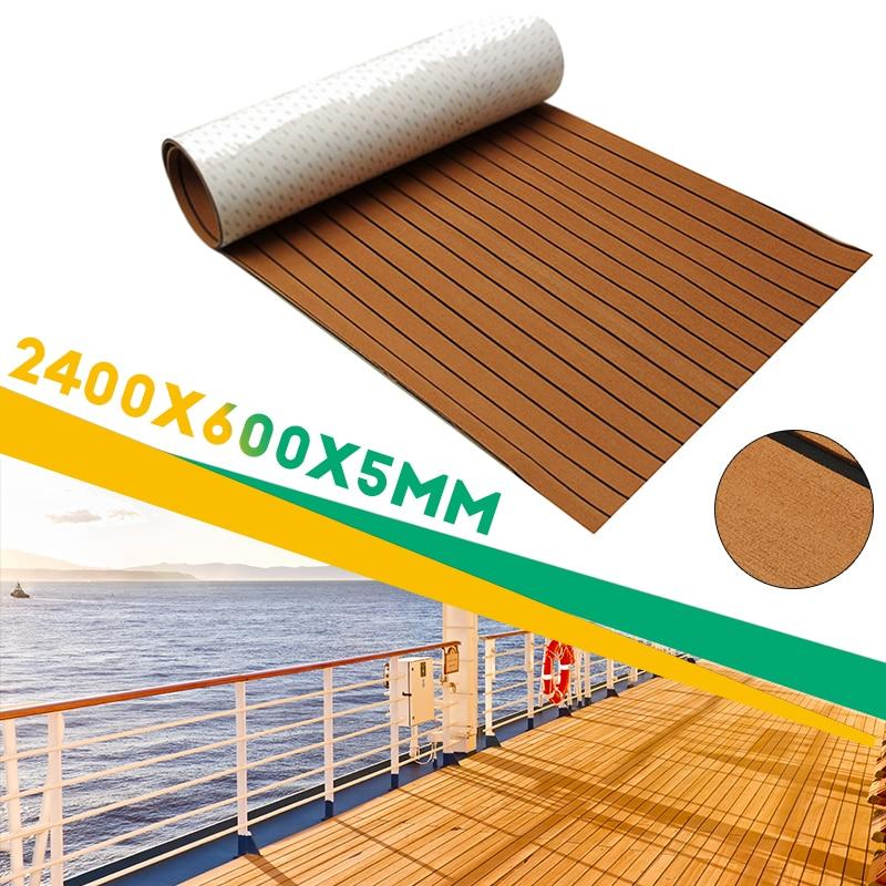 New Self-Adhesive 600x2400x5mm Brown Black Teak Decking EVA Foam Marine Flooring Faux Boat Decking Sheet