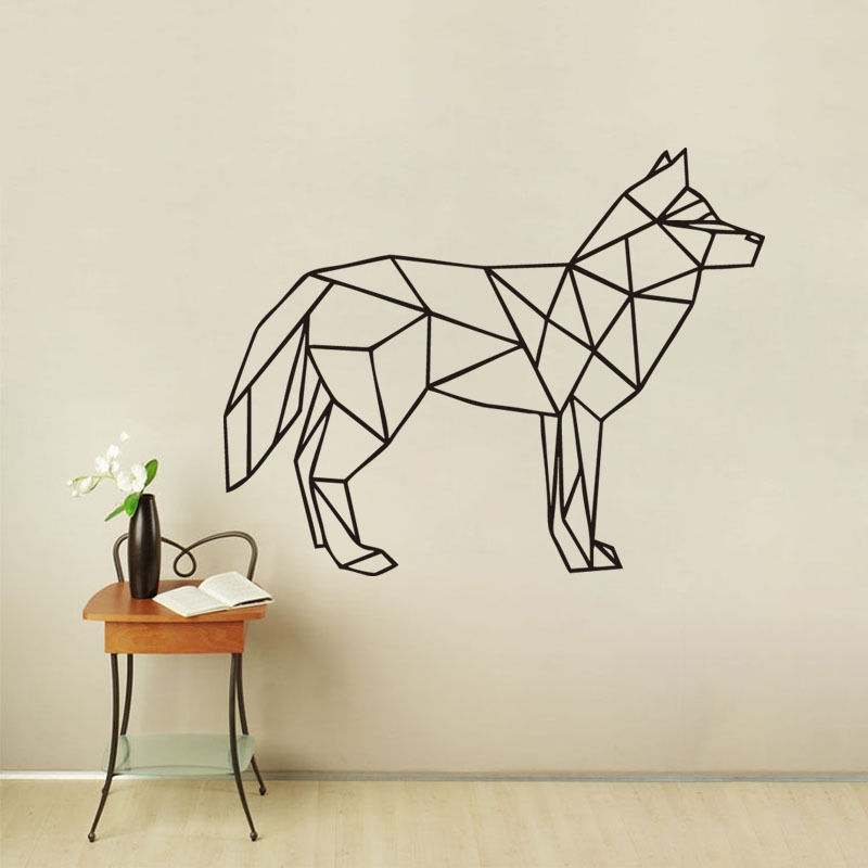 geometric wolf living room sticker animal art wall decal home decor