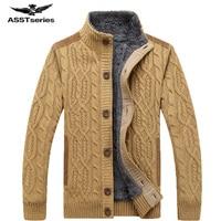AFS JEEP / Battlefield Jeep 2018 warm thick velvet cardigan sweater men's winter jacket Men stand collar loose sweater 160