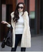 סתיו החורף נקבה מעיל ארוך עם ברדס מעיל אפוד שרוולים פרווה שיער ארנב חיקוי