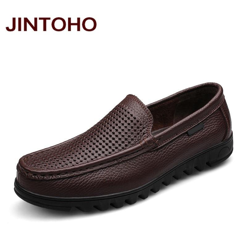 JINTOHO/Большие размеры 37-48 платья мужские итальянские кожаные туфли натуральная кожа без шнуровки легкие Мокасины Брендовые мужские туфли на ...