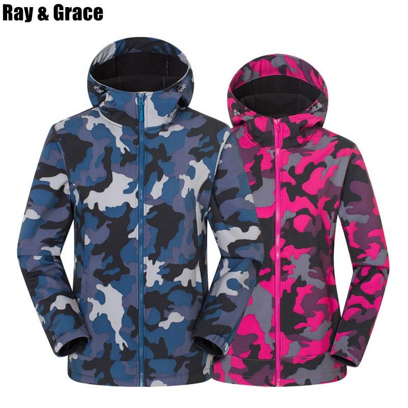 RAY GRÂCE Automne Hommes Militaire de Camouflage jacket polaire Tactique En Plein Air vêtement pour femme Coupe-Vent Thermique Softshell Manteaux