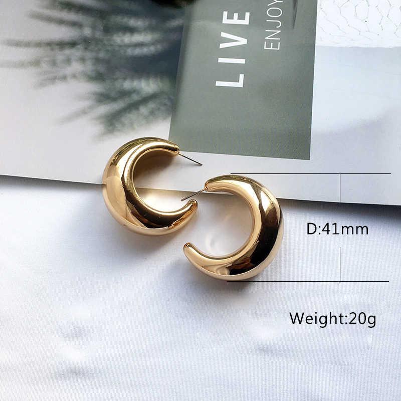 רחוב סגנון CC חישוק שמנמן זהב קטן גדול עגילי חישוק לנשים פאנק מתכת זהב מעגל עגילים