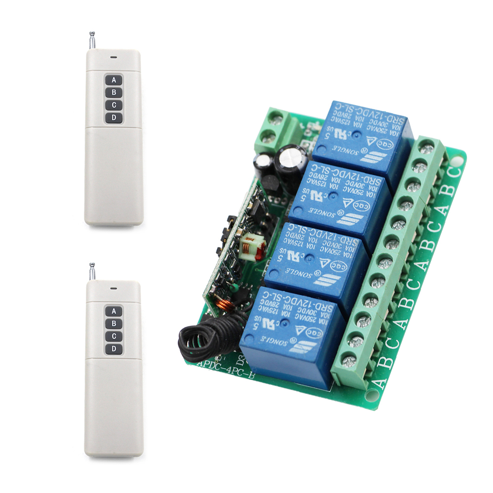 DC 12V 4 CH 315Mhz 433Mhz Wireless Remote Control Lighting Switch Receiver With 0-1000M Long DistanceTransmitter Free Shipping wireless pager system 433 92mhz wireless restaurant table buzzer with monitor and watch receiver 3 display 42 call button