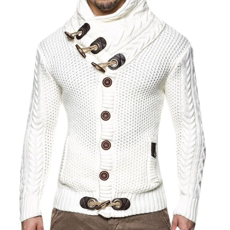 Men Winter Hedging Turtleneck Sweater Solid Color Cable Knit Button Down Slim Cardigan Tops Chunky Horns Buckle Coat Jacket