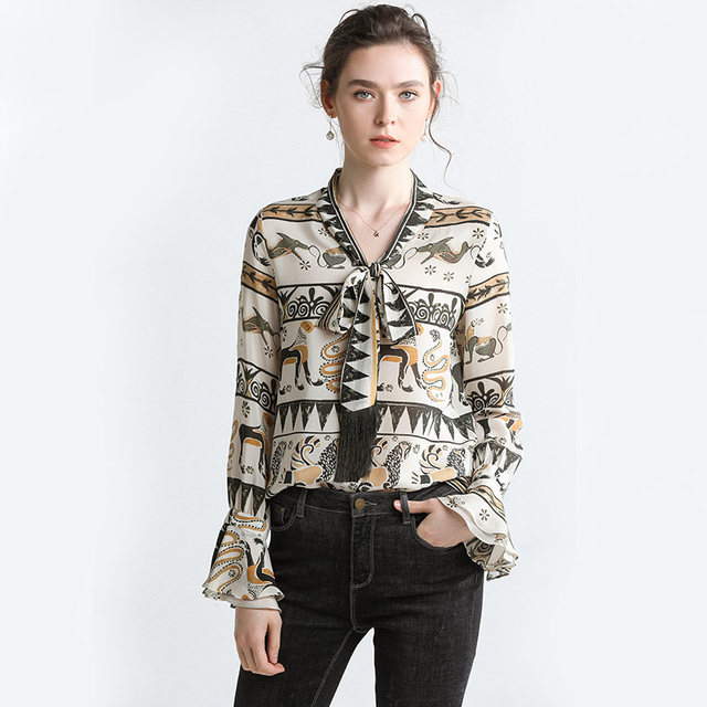 High Quality 100% Silk Blouse Women Lightweight Fabric Printed Bow-Neck Long Sleeves Formal Tops Elegant Style New Fashion 2019