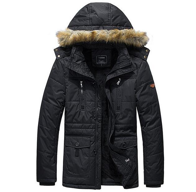 Yüksek Kaliteli Rahat Kış Ceket Erkekler Pamuk-Yastıklı Ceket Marka Kalınlaşma Moda Aşağı Isınma Coat Kalın Kapşonlu Windproof Parkas