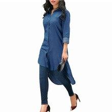 تي شيرت الجبهة قصيرة الأزرق طويل كم بلوزة بنت الأزياء النساء اللباس العباءة زائد حجم سترة محيكة عصرية كيمونو
