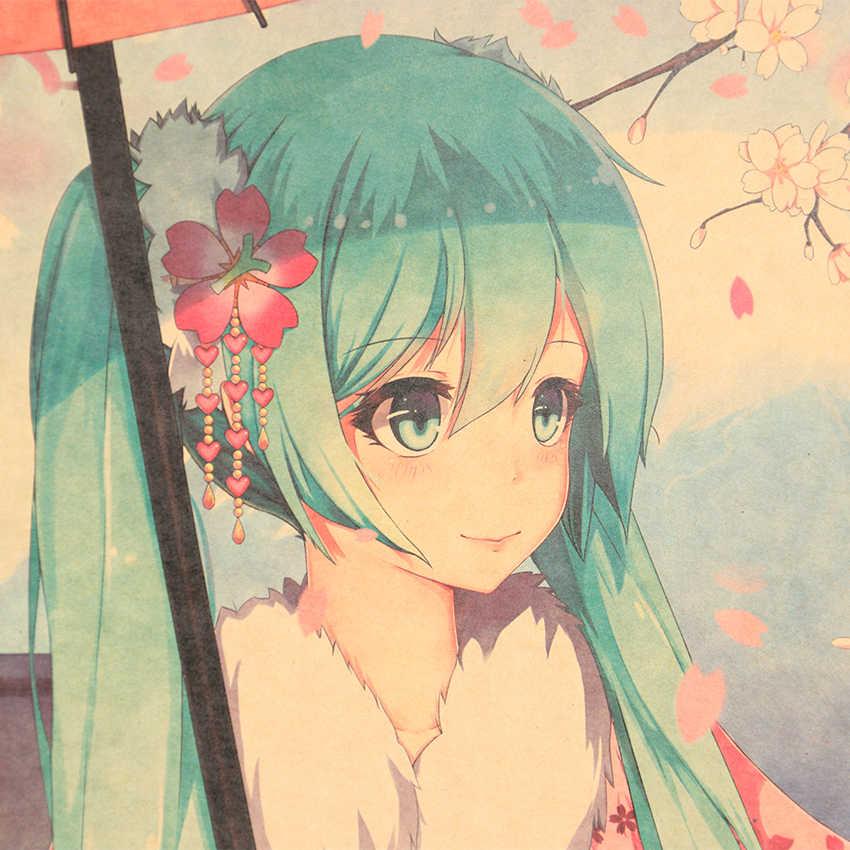 AMARRAR LER Música UM Estilo Japonês Hatsune Miku Dos Desenhos Animados Comic Bar Cartaz de Papel Kraft Retro Poster Pintura Decorativa 51x36cm