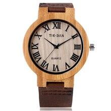 Новое Прибытие мужская Природа Дерево Кварцевые Гэри Роман Number Dial часы с Коричневый Кожаный Ремешок для Подарка Relojes де мадера