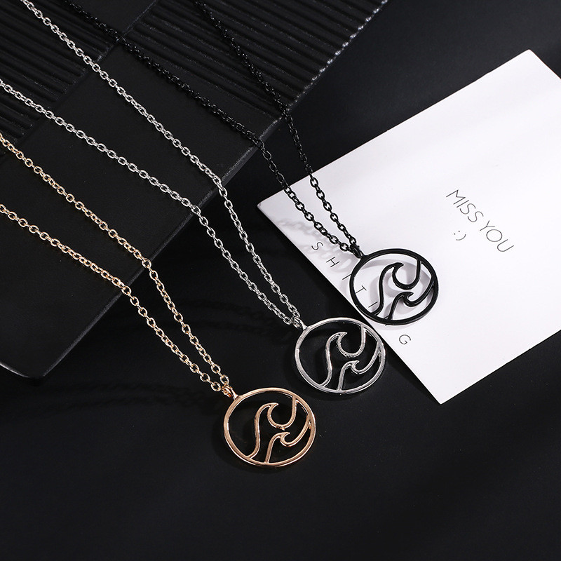 Fashion Round Beach Nautical Surfing Waves Pendant Necklace for Women Simple style Ocean Life Jewelry Birthday Gifts