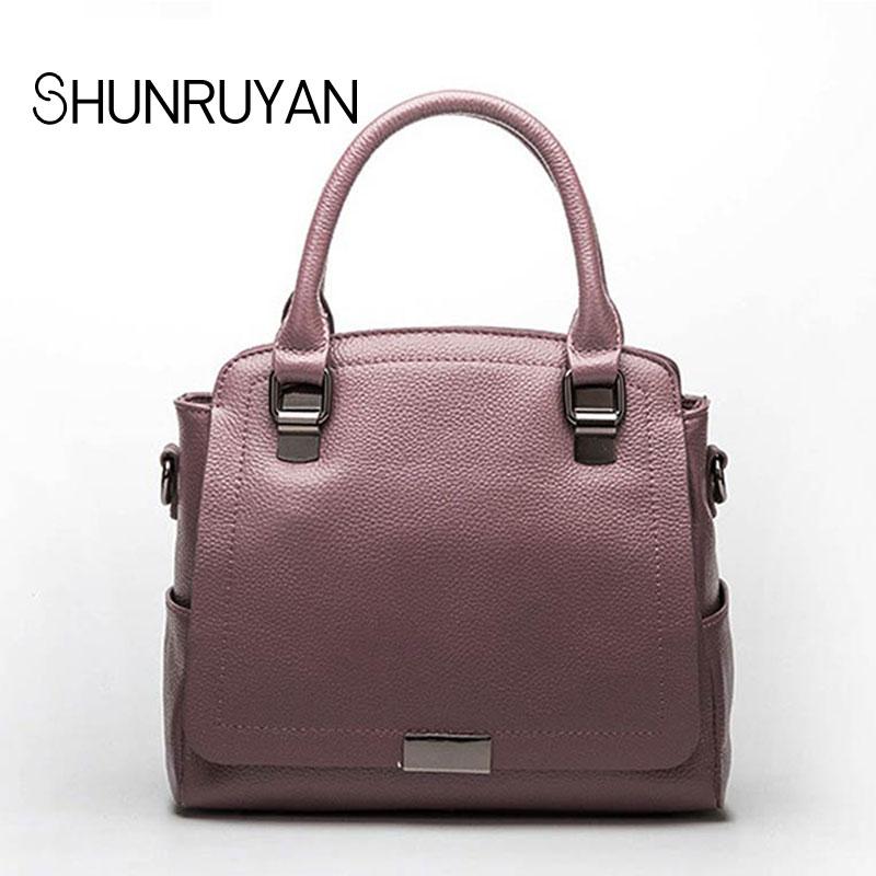 где купить SHUNRUYAN 2018 New high-quality leather handbags ladies cowhide shoulder Messenger bag fashion trend bag по лучшей цене