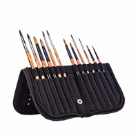 MEEDEN 10 12 Holes Mesh Watercolor Acrylic Gouache Oil Paint Brushes Case Zippered Holder Storage Bags