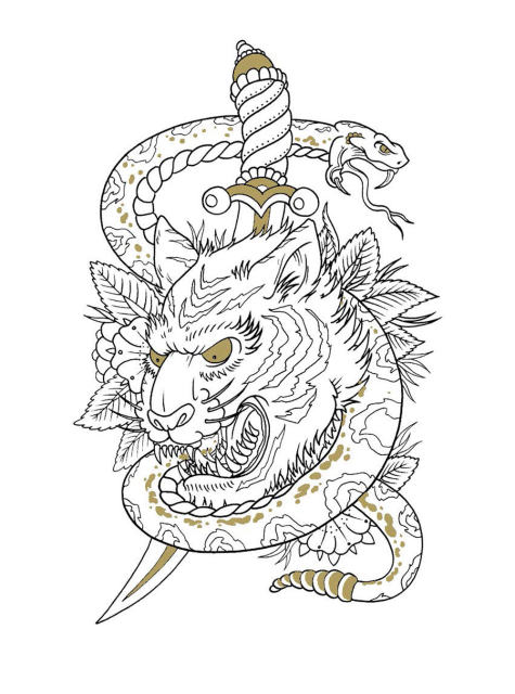 Online Shop The Tattoo Colouring Book for adults relieve stress kill ...