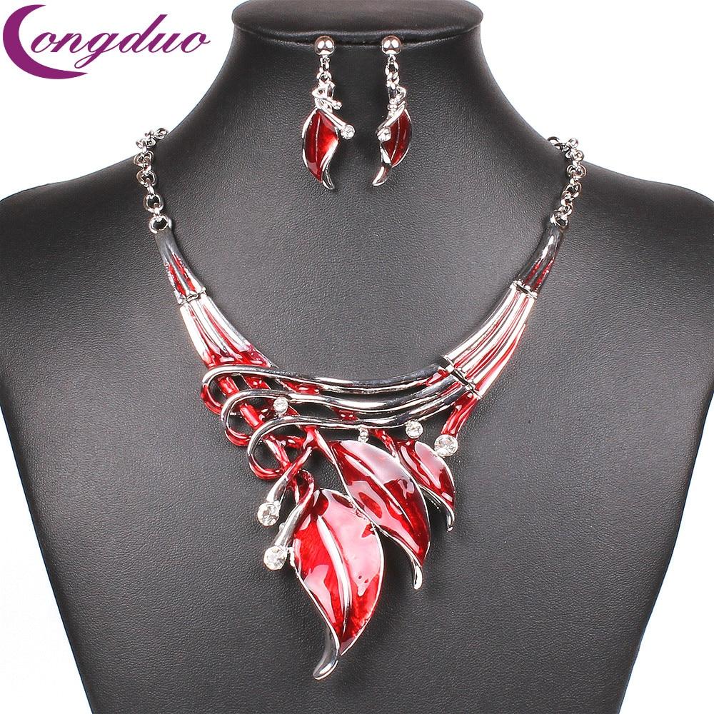 Fashion Red Enamel Leaf Necklace Set Earrings Silver Crystal Jewelry Sets Womens Jewellery Smalto Rossa Parure Bijoux Rouge