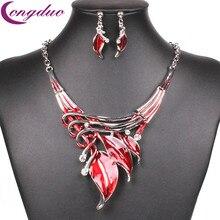 Fashion Red Enamel Leaf Necklace Set Earrings Silver Crystal Jewelry Sets Womens Jewellery