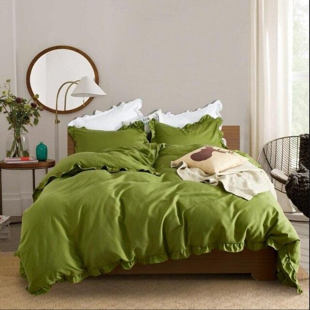3pcs Princess Girl Comforter Bedding Lotus leaf Water Washed Cotton  Pillowcase Duvet Cover set