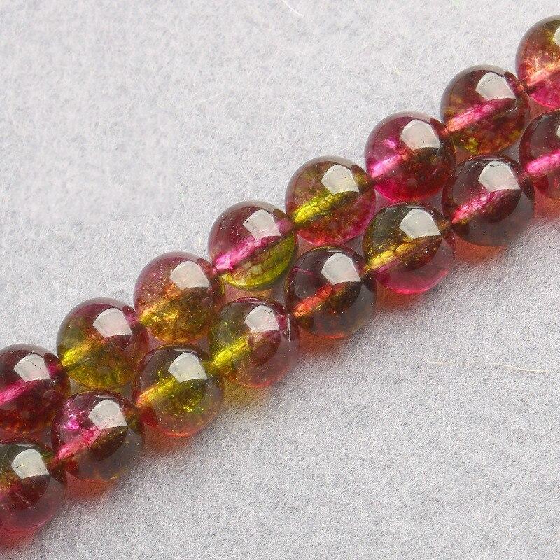 Full Strand 15'' 6mm-12mm Natural Watermelon Crystal Semi Precious Stone Beads DIY Jewelry Handmade Accessories