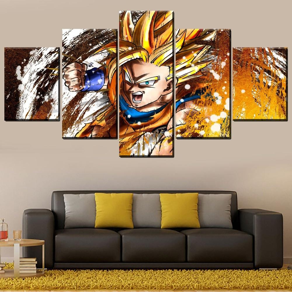 Un Set di 5 pezzo Modulare Picture For Living Room Della Parete Della Casa Decorativo Gioco Goku Dragon Ball FighterZ Pittura Moderna Opera D'arte