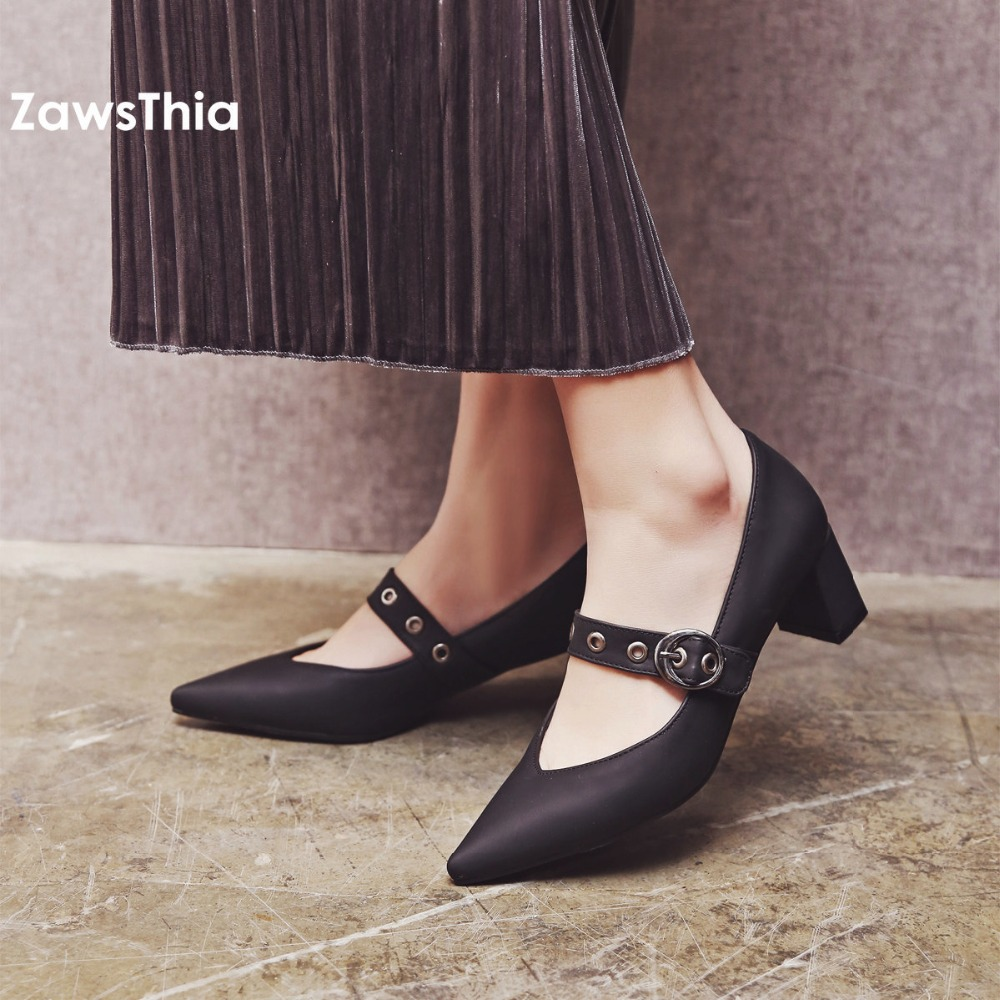 ZawsThia sexy girls pointed toe block high heels with buckle strap solid red green black pumps mary janes plus size women shoes pu pointed toe flats with eyelet strap