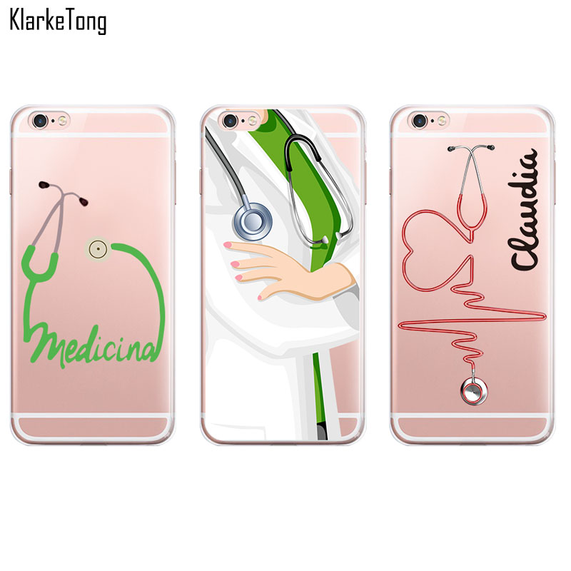 Cute Cartoon Medical Stethoscope Pattern Case For iPhone 6 plus / 6s plus 5.5 inch Transparent Soft Silicone Cell Phone Cases