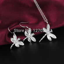 S045 cheap wholesale silver plated Zircon Dragonfly Pendant Necklace & Earrings Set Fashion Jewelry cute Christmas gift