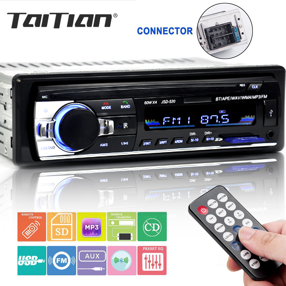 Bluetooth stereo subwoofer car radio 1.din hd 12V In-dash USB .FM Radio Aux Input receiver SD MMC MP3 auto multimedia Player