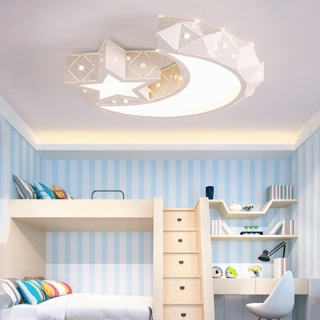 Moonu0026 Stars Children Bedroom Ceiling Lamp Iron LED Indoor Lights Hollow  Modern Minimalist Living Room Studyroom