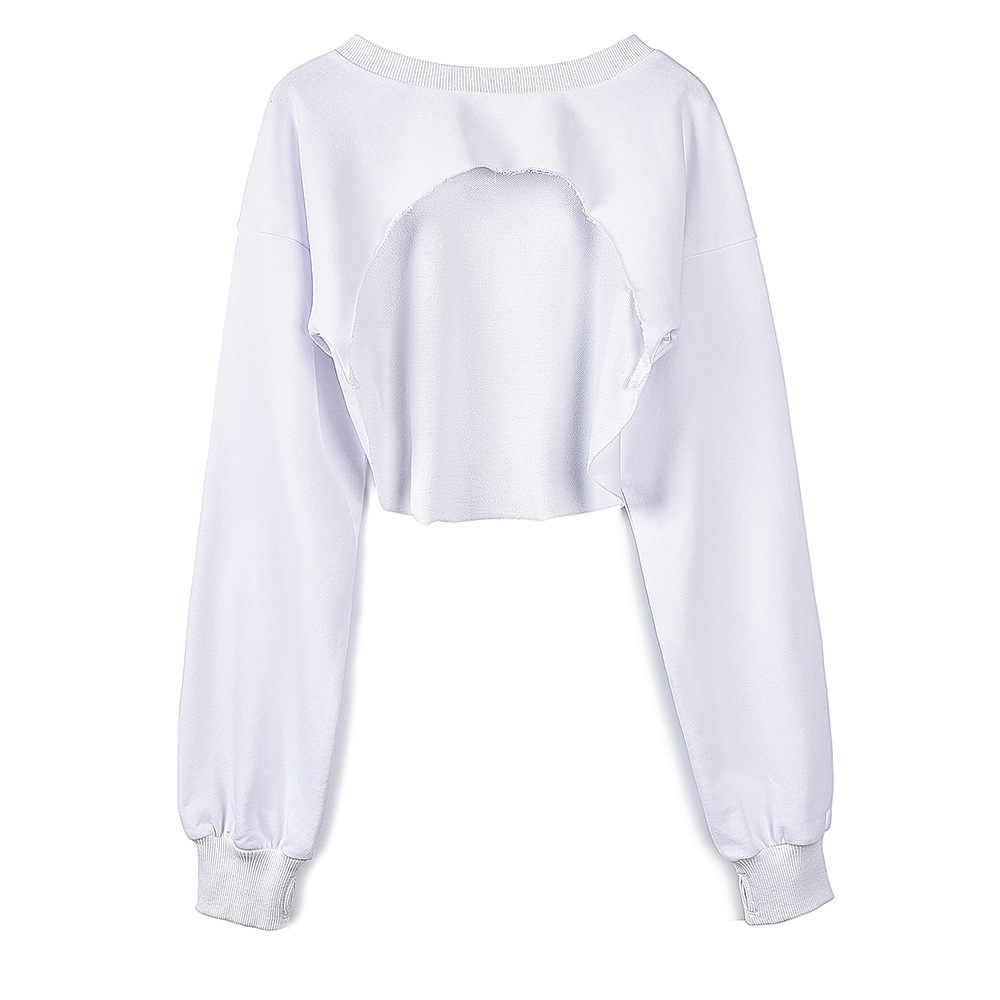 Women High Cut Out Plain Cropped Hoodie Shirt Jersey Female Crop Sweatshirt  Fitness Cutout Polerones Jumper 25e7122d394a