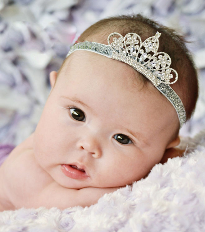 Lovely Princess Crown Headband Baby Tiara Infant Elastic Headbands, Newborn Baby Headbands Photos(China