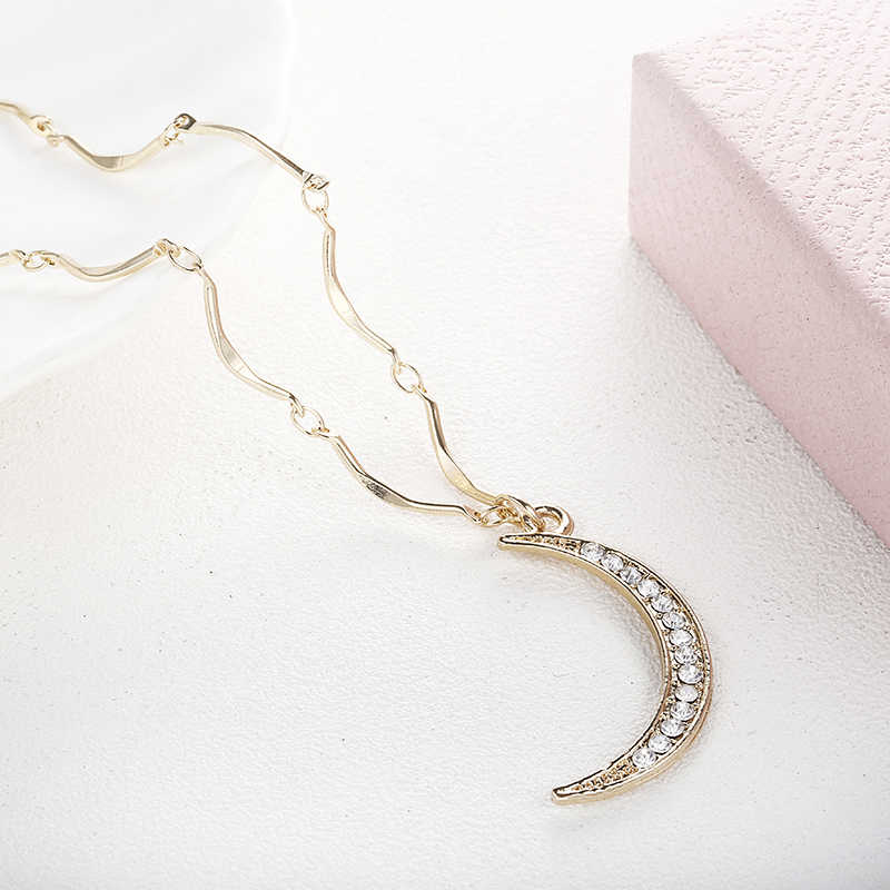 Fashion Women Crystal Moon Pendant Necklace 2018 Simple Statement Luna Necklace Golden Color Bar Chain  Necklace x61