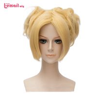 L email wig New Arrival NARUTO Nara Temari Cosplay Wigs 30cm Golden Heat Resistant Synthetic Hair Perucas Cosplay Wig