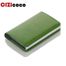 Men Metal Card Holder RFID Aluminium Alloy Credit PU Leather Wallet Antitheft Automatic Pop Up