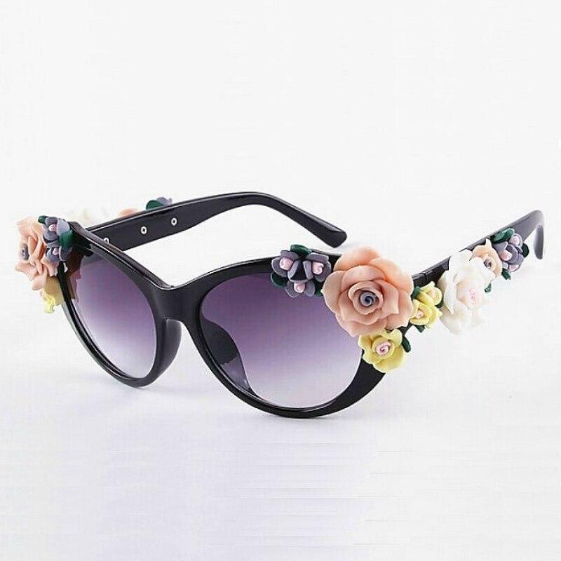 Oversized Women's Girls Beach Floral Sunglasses Summer Baroque Anti-UV Sunglasses Retro Glasses YXT0066