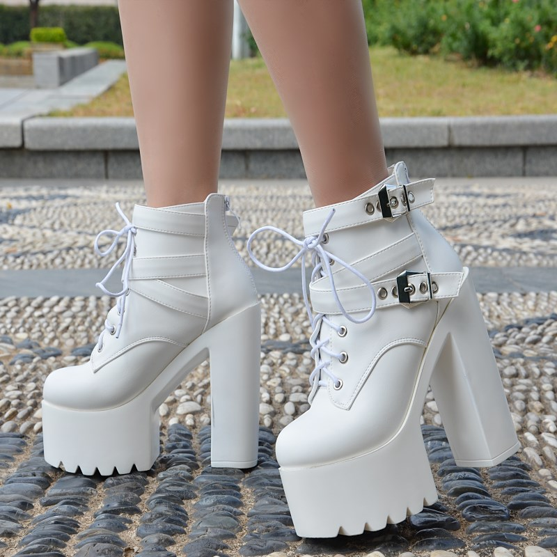 2017 European and American black high heels Autumn and winter new 14CM short boots Thick with waterproof Taiwan tied with women' цены онлайн