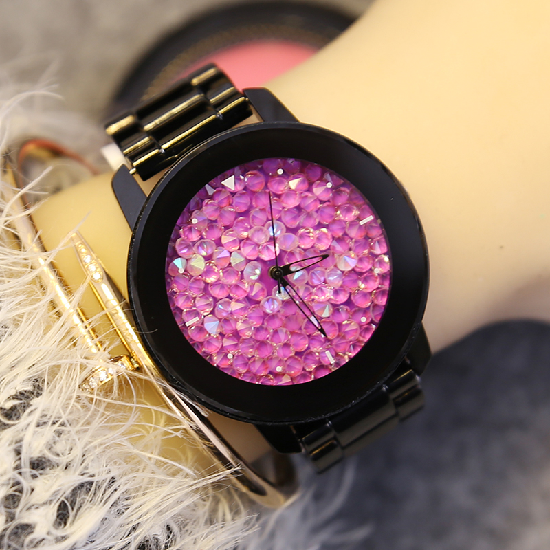 Fashion GUOU Luxury Brand Top Quality Quartz Women Watch Full Black Steel Lady Dress Rhinestone Clock
