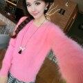 Macrotrichia куница бархат свитер женский сплошной цвет о-образным вырезом утолщение тепловой тонкий основной трикотажные норки свитер рубашку