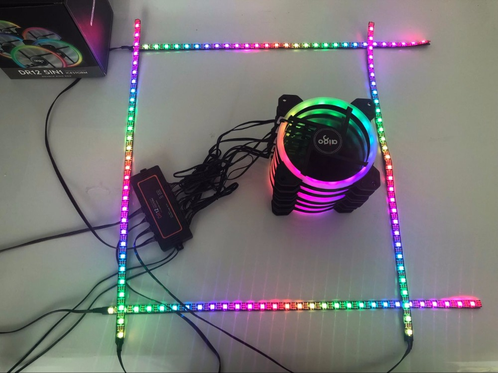 Aigo DR12 caja de la computadora de la PC ventilador de refrigeración de la barra de luz RGB ajustar LED 120mm Quiet + control remoto IR ventilador tiras de luces led